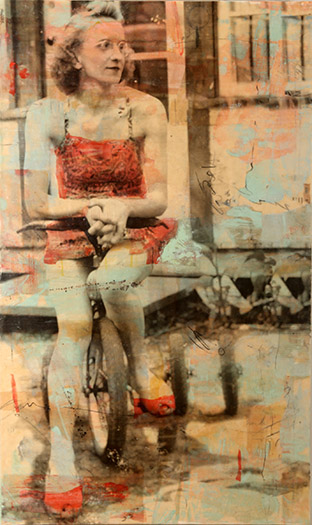 Lachesis ll, photo collage encaustic and mixed media