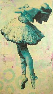 "Odette< 0hoto collage, encaustic and mixed media, 60x32""."