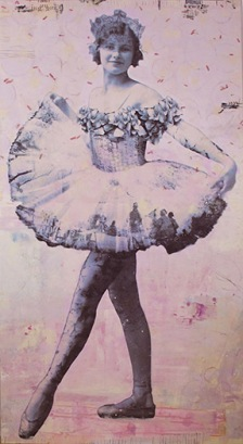 """Rosamond, photo collage encaustic and mixed media, 60x32""""."""