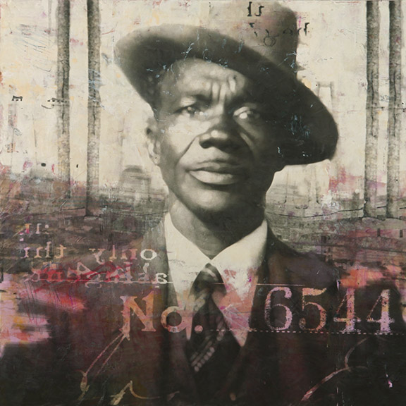 T George Bell, photo collage encaustic and mixed media, 36x36""