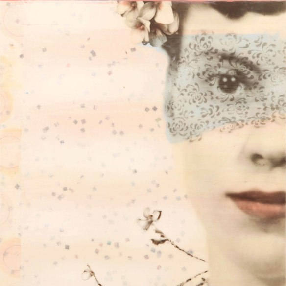 Ruby's Daughter, photo collage, encaustic and mixed media, 18x18x2. ©Marybeth Rothman