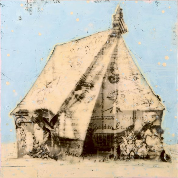 The Poet's Encampment, photo collage, encaustic and mixed media, 18x18x2. ©Marybeth Rothman