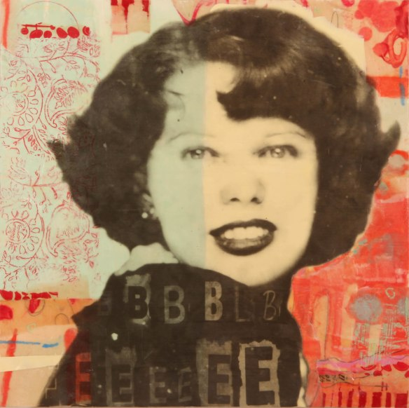Bobbie, photo collage, encaustic and mixed media, 18x18x2. ©Marybeth Rothman