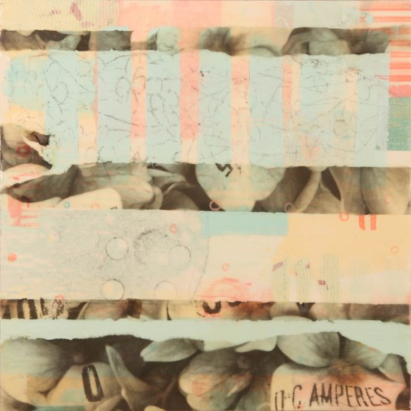 Calliope, photo collage, encaustic and mixed media, 18x18x2. ©Marybeth Rothman