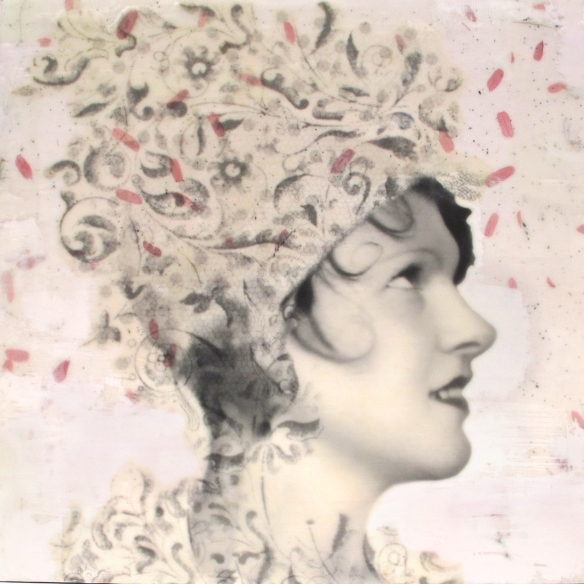 "Billie, 12x12x2"", photo collage, encaustic and mixed media. ©Marybeth Rothman"