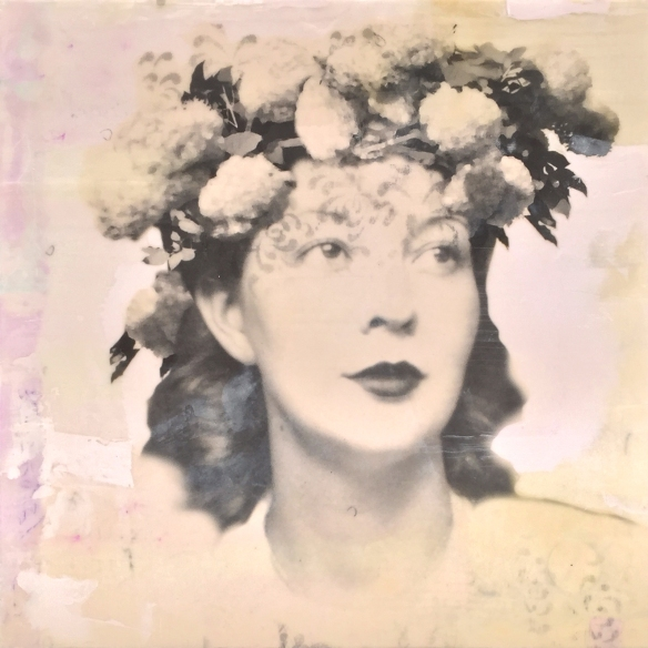 "Pearl, 12x12x2"", photo collage, encaustic and mixed media. ©Marybeth Rothman"